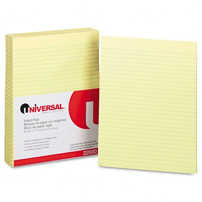 Universal® Glue Top Writing Pads, Wide Rule, Letter, 50 Sheets, 12-Pack