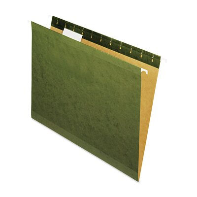 Universal® Reinforced 100% Recycled Hanging Folder, 1/5 Cut, Letter, Standard Green, 25/Bx