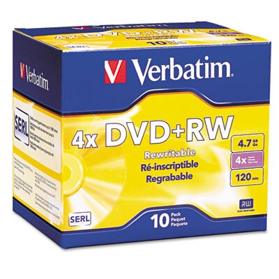 Verbatim Corporation Dvd+Rw Discs, 4.7Gb, 4X, 10/Pack
