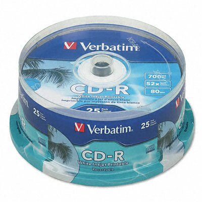 Verbatim Corporation Hub Ij Printable Spindle Cd-R Discs, 700Mb/80Min, 52X, 100/Pack