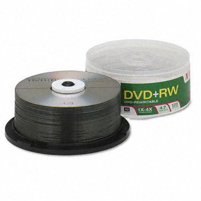 Verbatim Corporation DVD+RW Discs, 4.7GB, 4x, Spindle, 30/Pack