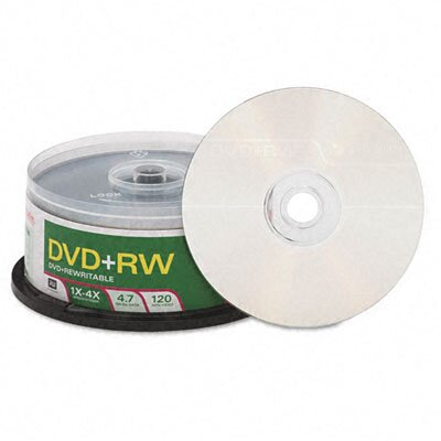 Verbatim Corporation DVD+RW Discs, 4.7GB, 4x, Spindle, 30/Pack
