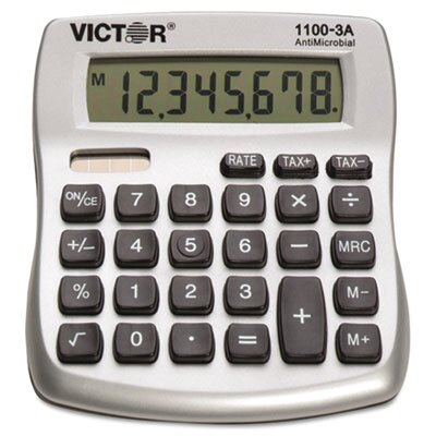 Victor Technology Antimicrobial Compact Desktop Calculator, 10-Digit Lcd