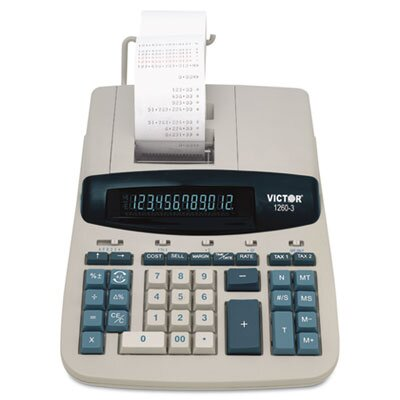 Victor Technology Heavy-Duty Printing Calculator, 12-Digit Fluorescent