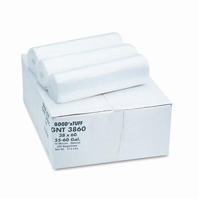 Webster Industries Good 'N Tuff High Density Waste Can Liners, 55-60 Gal, 12 Mic, 38 X 58, 200/Carton