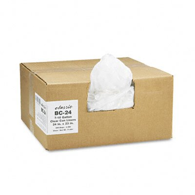 Webster Industries Classic Clear Clear Low-Density Can Liners, 7-10 Gal, .6 Mil, 24 X 23, 500/Carton
