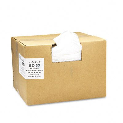 Webster Industries Classic Clear Clear Low-Density Can Liners, 16 Gal, .6 Mil, 24 X 31, 500/Carton