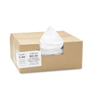 Webster Industries Classic Clear Clear Low-Density Can Liners, 31-33 Gal, .6 Mil, 33 X 39, 250/Carton