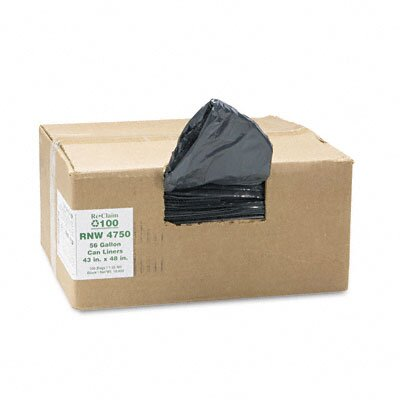 Webster Industries Earthsense Commercial Recycled Can Liners, 56 Gal, 1.25 Mil, 43 X 48, 100/Carton