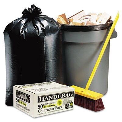Webster Industries Handi-Bag Super Value Pack Contractor Bags, 42 gal, 2.5mil, 48 x 33, 50/ctn