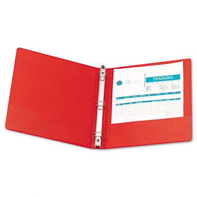 Wilson Jones Basic Vinyl Round Ring Binder, 1in Capacity, Red