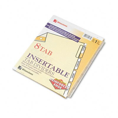 Wilson Jones Gold Pro Insertable Tab Index, 8-Tab, Letter, Buff Sheets
