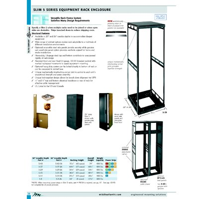 "Middle Atlantic 26"" D Slim 5 Series Equipment Rack Enclosure"