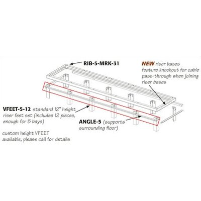 Middle Atlantic RIB Series Raised Floor Support Angles for Use with RIB-X-MRK-42 Riser Bases