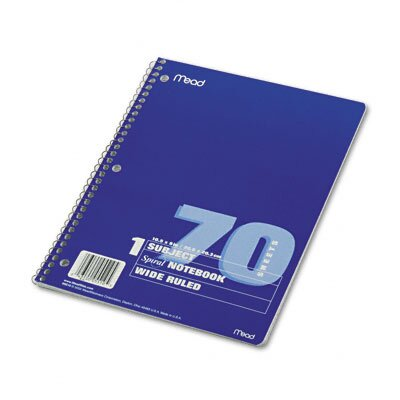 Mead Spiral Bound Notebook, Wide/Margin Rule, 8 x 10-1/2, White, 100