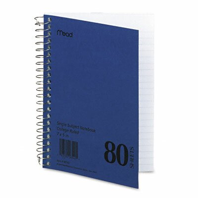 Mead Spiral Bound 1 Subject Notebook, College Rule, 5 X 7, 80 Sheets/Pad