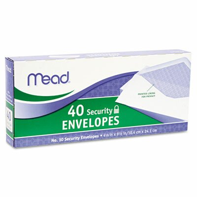 Mead Security Envelope, 4 1/8 X 9 1/2, 20 Lb, 40/Box