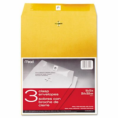 Mead Clasp Envelope, 10 x 13, 24lb, Kraft, 3/Pack
