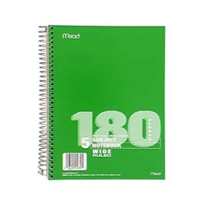 Mead Notebook Spiral 5 Subject 180 Ct