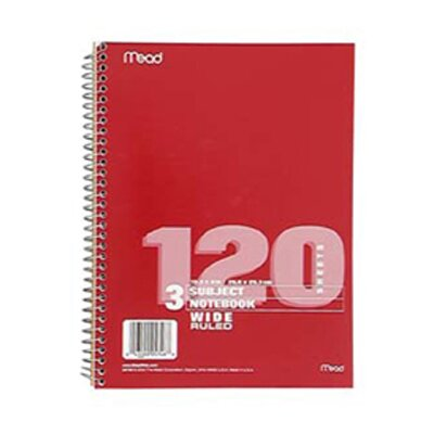 Mead Notebook Spiral 3 Subject 120 Ct