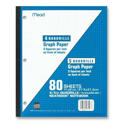"Mead Wireless Neatbook, 1-Sub, Quad Rule, 11""x8-1/2"", 80 Sheets, White"