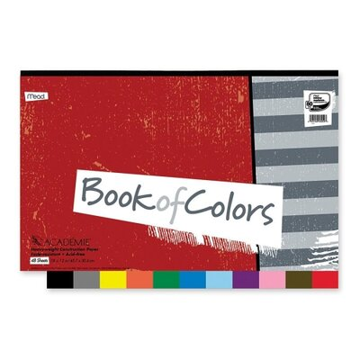 "Mead Construction Paper Book, 18""x12"", 48 Sheets, Assorted"