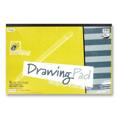"Mead Drawing Pad, Heavy Weight, 12""x18"", 24 Sheets White"