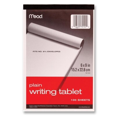 "Mead Writing Tablet,Top-bound,Plain,15 lb,6""x9"",100 Sh,White"