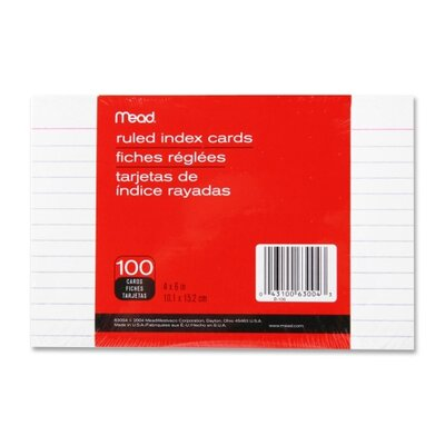 Mead Index Cards, Ruled, 100 per Pack, White
