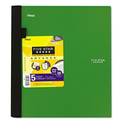 Mead Five Star Advance Wirebound Notebook, College Rule, Letter, 5 Subject 200 Sheets/Pad