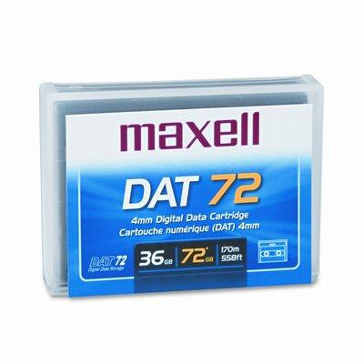 "Maxell Corp. Of America 1/8"" DAT 72 Data Cartridge, 170m, 36GB Native/72GB Compressed Data Capacity"