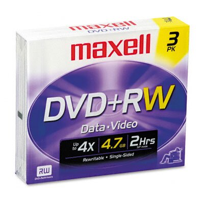 Maxell Corp. Of America DVD+RW Discs, 4.7GB, 4x, with Jewel Cases, Silver, Three/Pack