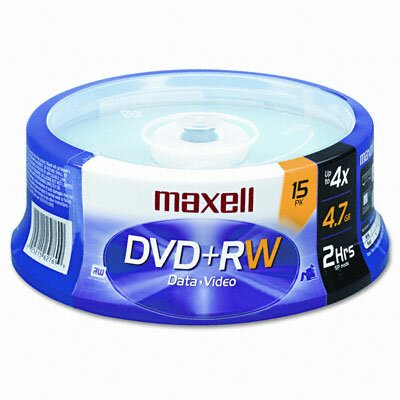 Maxell Corp. Of America Spindle Dvd+Rw Discs, 4.7Gb, 4X, 15/Pack