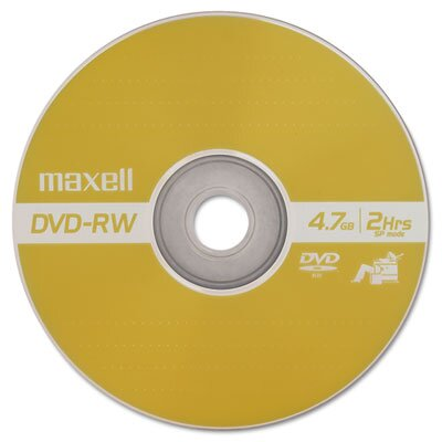 Maxell Corp. Of America DVD-RW Discs, 4.7 GB, 2x, with Jewel Cases, Gold, Three/Pack