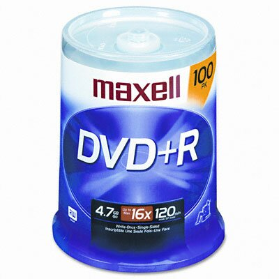 Maxell Corp. Of America Spindle Dvd+R Discs, 4.7Gb, 16X, 100/Pack