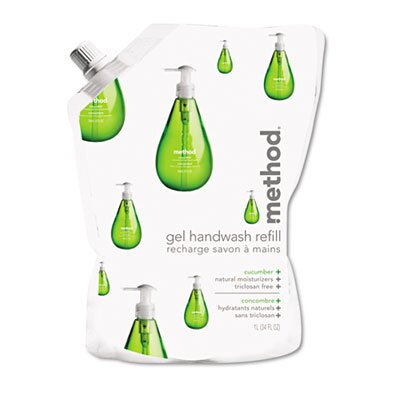 Method® Gel Hand Wash Refill, 34 Oz., Cucumber Scent, Plastic Pouch