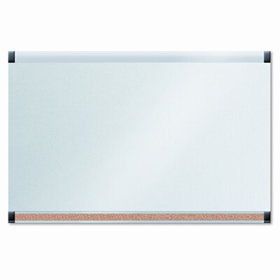 The Board Dudes GlassX Frosted Glass, 35 x 23 Combo Dry Erase Board and Bulletin Bar, Unframed
