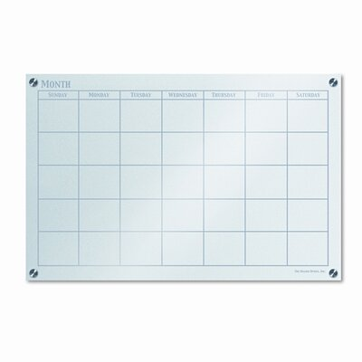 The Board Dudes Glassx Frosted Glass Dry Erase Board with Monthly Planner, 35 X 23