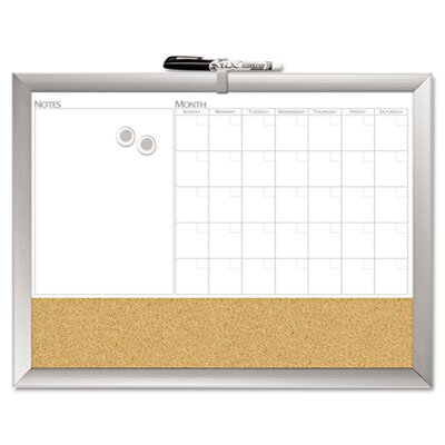 """The Board Dudes Dudes Magnetic Dry Erase 3-N-1 1'6"""" x 2"""" Combo Whiteboard and Bulletin Board"""