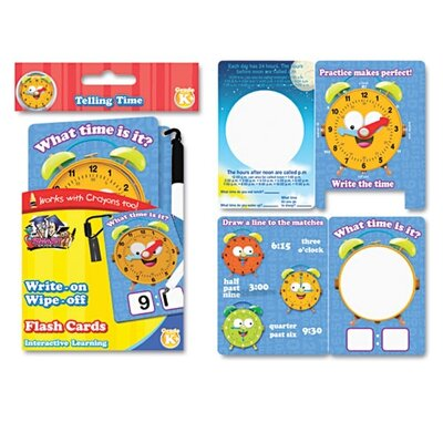 The Board Dudes SmartDudes Write On/Wipe Off Flash Cards, Telling Time, K and Up, 9/Pk