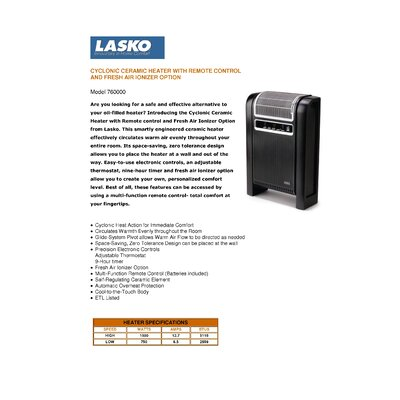Lasko Cyclonic Ceramic Cabinet Electric Space Heater with Remote Control