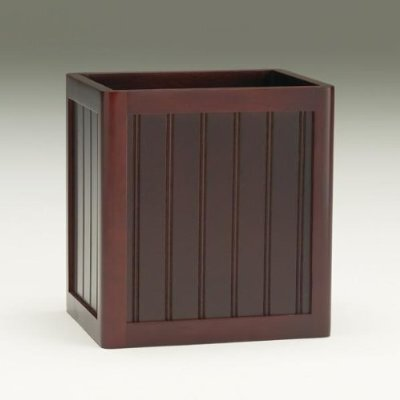 Redmon Contemporary Country Wastebasket in Mahogany or White