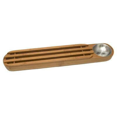 Bamboo Bread Board with Stainless Steel Dipping Cup