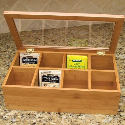 Lipper International Bamboo Eight Compartment Tea Box with Acrylic and Bamboo Lid