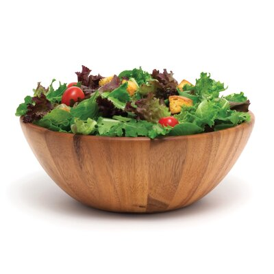 "Lipper International Acacia Serveware Flair 12"" Salad Bowl"