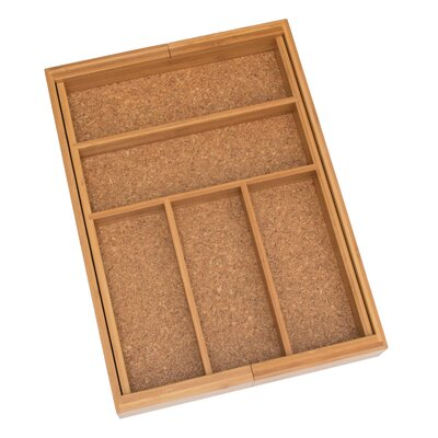 Lipper International Bamboo and Cork Expandable Flatware Organizer