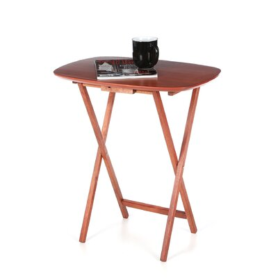 Lipper International Cherry Snack Table Set with Stand (Set of 4)