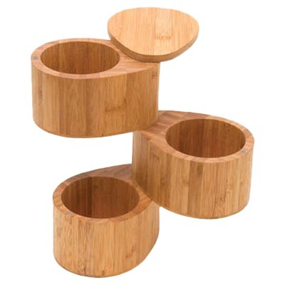 Bamboo 3 Tier Salt / Spice Box with Swivel Cover