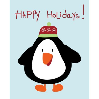 Timi and Leslie Penguin Christmas Wall Art Print