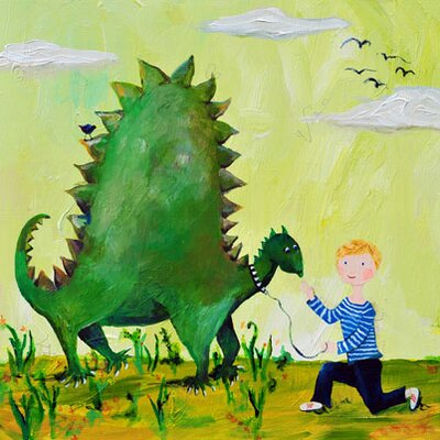 CiCi Art Factory Wit & Whimsy Dino Canvas Print